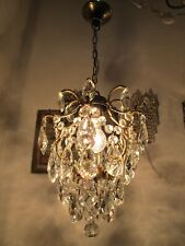 Antique Vintage Cage Style Crystal Chandelier lamp light 1940s 10in dmtr*