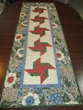 "Hand Made Quilted Table Runner/ Topper / Mat ~ Floral  ~ 16.5"" x 47"""