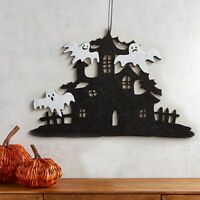 Halloween Door Pendant Witch Non-Woven Haunted House Shape Wall Hanging Decor LD
