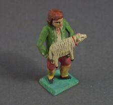 Grulicher Krippenfigur,  Gabenbringer mit Schaf  > 7 cm <   (# 11626)