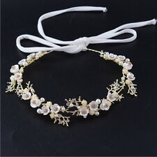 2cm Wide Little Flower Leaf Pearl Crystal Lace Hair Head Band Accessories Bridal