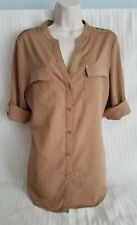 NWOT PREMISE STUDIO Roll-Tab Long Sleeve Button Down Blouse in Tan, Medium