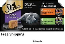 Sheba Wet Cat Food Pate Variety Pack, Savory Chicken & Roasted Turkey 24 Serving