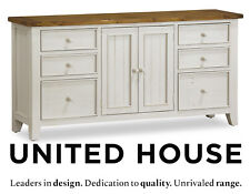 Distressed White Timber Buffet Cabinet Sideboard Shabby Chic Country Furniture