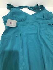 NWT ATHLETA DRESS PACK ANYWHERE 12 T BLUE TEAL HALTER SUNDRESS NEW FREE SHIPPING