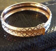 Italy Omega Rose Gold Over 925 SS 15mm Dyadema Women's Bracelet 7.25