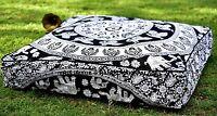 Indien Éléphant Mandala Oreiller Carré Hippie Sol Coussin Housse Chien / Pets