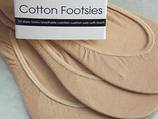 Ladies Natural Cotton Footsies/ Footlets No Show Shoe Liners Socks  3 pair Pack