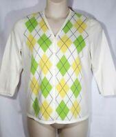 EP Pro Women Golf Sweater Size L Argyle Cardigan 3/4 Sleeve Ivory Green Large