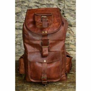 Women's Vintage Genuine Real Goat Leather Backpack Travel Bag RucksackBrownLarge