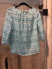 Ellie Kai 100% Silk Blouse Top Shirt Teal  ivory flame Batik pattern size 2.