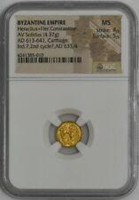 Byzantine Empire Heraclius+Her.Constantine Av Solidus Ad613-641 Ms Ngc 942087-20