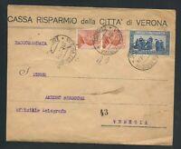Regno d'Italia 1926 - Raccomandata viaggiata con bolli da Verona a Venezia