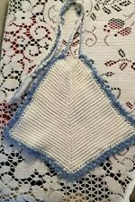 """Crocheted Baby Bib BLUE AND WHITE @ 9.5"""" WIDE X 8"""" TALL NICE CONDITION NO STAINS"""
