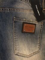 65% OFF Dolce & Gabbana Dark Blue Jeans With Leather Plaque IT50 W34 100% cotton