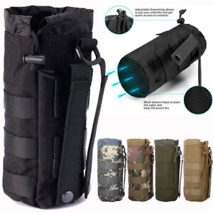 Tactical MOLLE Water Bottle Pouch Drawstring Open Top Travel Water Bottle Holder