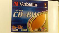 Verbatim  CD-RW CD Blank Rewritable Discs 700mb  5 Pack 8-12x Hi Speed