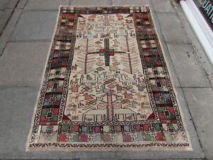 Vintage Traditional Hand Made Oriental Beige Brown Wool Sumac Kilim 182x123cm