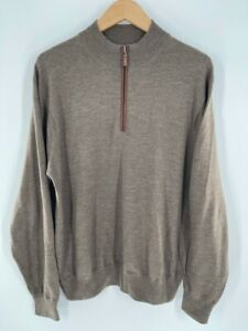 Peter Millar Mens Golf Pullover Sweater Brown Heathered 1/4 Zip Merino Wool L