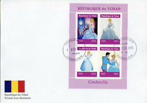 Chad 2019 FDC Cinderella 4v M/S Cover Disney Cartoons Animation Stamps