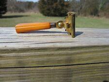 Nice Schick Injector Type E (1935-1945) Caramel Bakelite Handle Gold Tone