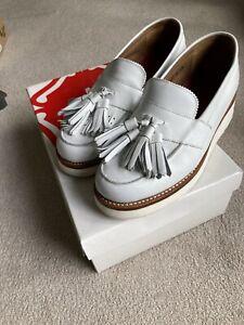 Grenson Womens Clara White Tassel Loafers Shoes Size UK 4.5