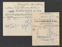 1890 (PAIR) KRECKER & CO PAPER BOX MFG'R PHILADELPHIA PA BILLHEAD