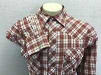 Wrangler Long Sleeve Pearl Snap Western Red Brown Plaid Shirt  XL