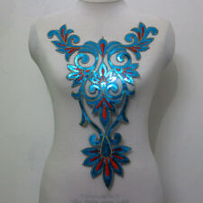 1Piece Collar Neck Embroidery Sequined Applique Motif Trims Blue Orange Sew On