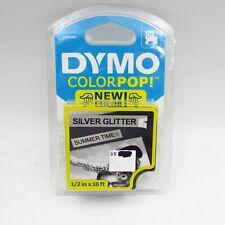 New Dymo Colorpop Authentic Label Maker Tape D1 Black Print On Silver Glitter