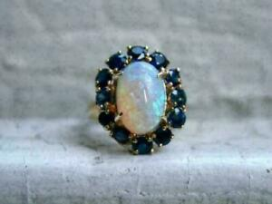 4.00Ct Oval Cut Fire Opal & Sapphire Halo Engagement Ring 14k Yellow Gold Finish