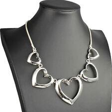 heart valentine's choker statement necklace Shiny silver large graduated linked