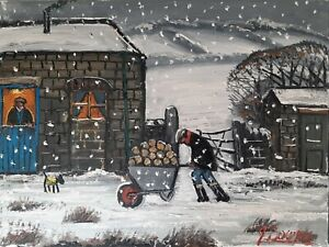 Marvellous James Downie Oil Painting 40cm by 30cm Canvas 'The Log Man'