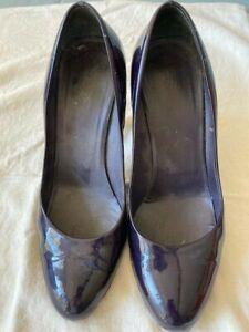 Prada SZ 38.5/8.5 Black Patent Leather Block Heel Pumps Shoes