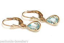 9ct Gold Blue Topaz LeverBack Earrings Gift Boxed