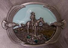 Pewter Belt Buckle Western Cowboy and Eagles Home on the Range NEW