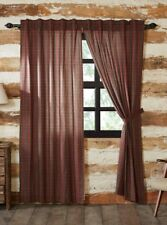 TARTAN RED PLAID Panel Set Lined Country Plaid Rustic Cabin Lodge Green 84x40