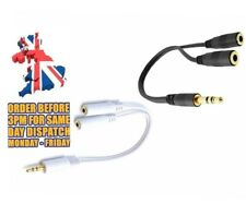 3.5mm HEADPHONE EARPHONE SPLITTER JACK Y MALE to 2 FEMALE CABLE AUDIO EXTENSION
