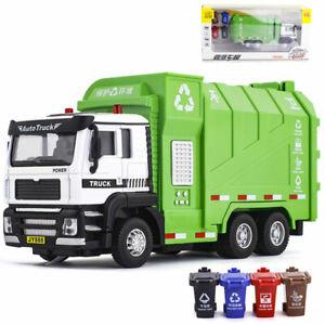 1/32 Garbage Truck Trash Can Bin Model Car Toy Vehicle Pull Back Sound Light