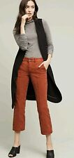 Anthropologie by Pilcro Mid-Rise Crop Flare Cords Pants WINE Size 25 NwT