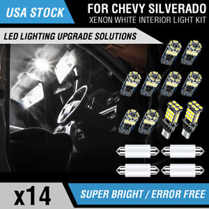 14PCS LED Interior License Light Package Kit White For Chevy Silverado 1999-2006