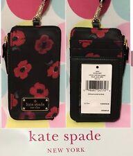New Kate Spade Edria Wilson Road Mini Poppy Lanyard/ Card Wallet Black Multi