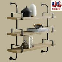 US 2PCS 3-Tiers Wall Mount Storage Iron Shelf Shelving Bookshelf Home Decor Rack
