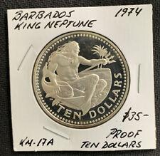 1974 Barbados $10 / 1.27 Oz Silver Superior Proof / Crown & *No Reserve!