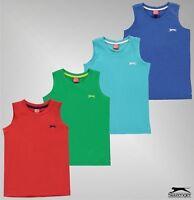 Boys Branded Slazenger Casual Cotton Crew Neck Vest Sleeveless T Shirt 7-13 Yrs