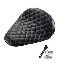 "3"" Leather Solo Seat With Grid White Diamond Stitch For Harley Sportster Bobber"