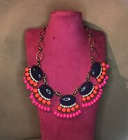 J CREW Blue & Pink Dangle Beads Statement Necklace