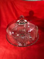 Vintage Pedestal Glass Cake Stand Dome Cover Punch Bowl Geometric Design