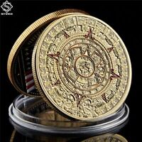Mexico Mayan Aztec Calendar Art Prophecy Culture Plated Gold Coins Collectibles