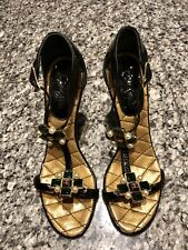 CHANEL CC 2007 Gripoix Cross Pearl Sandals Heels